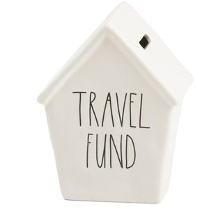 NIB RAE DUNN White Ceramic Travel Fund Money Bank